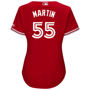Toronto Blue Jays Women's Cool Base Replica Russell Martin Alternate Red Jersey by Majestic