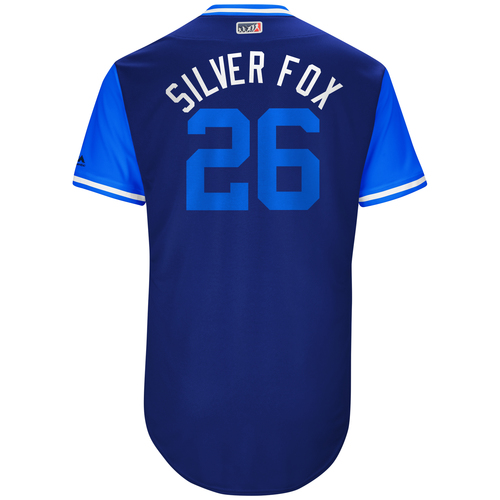 "Photo of Chase ""Silver Fox"" Utley Los Angeles Dodgers Game-Used Players Weekend Jersey"