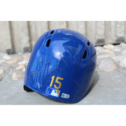 Photo of Game-Used Gold Helmet: Whit Merrifield (Size 7 1/2 - ARI at KC - 9/29/17)