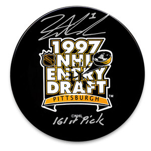 David Aebischer 1997 NHL Draft Day 161st Pick Autographed Puck Colorado Avalanche
