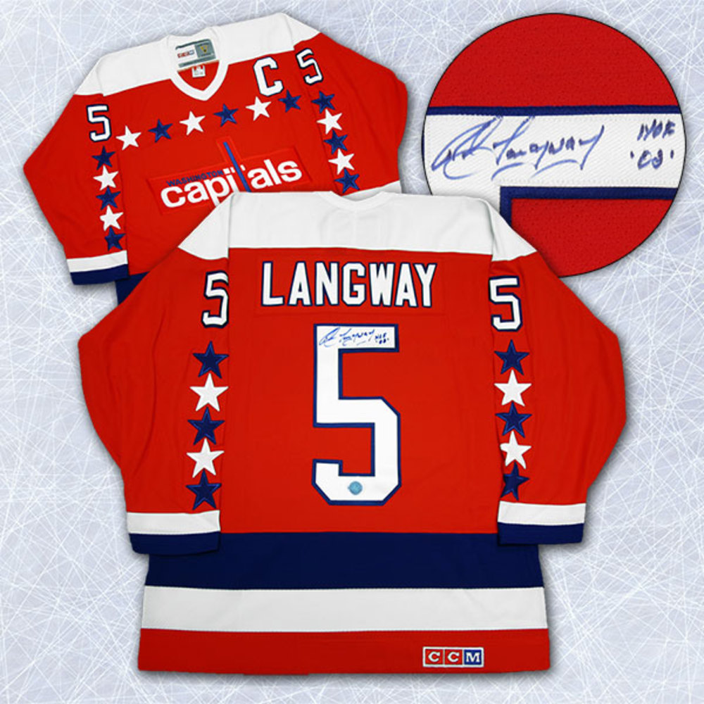 Rod Langway Washington Capitals Autographed Retro CCM Hockey Jersey