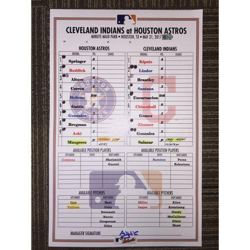 Photo of Astros vs Indians, 5/21/17 - Game-Used Lineup Card