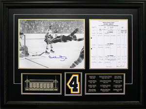 Bobby Orr - Signed & Framed 11x14 Scoresheet Etched Mat - The Goal
