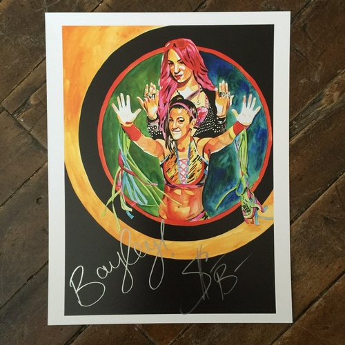 Photo of Bayley & Sasha Banks SIGNED 11 x 14 Rob Schamberger Print