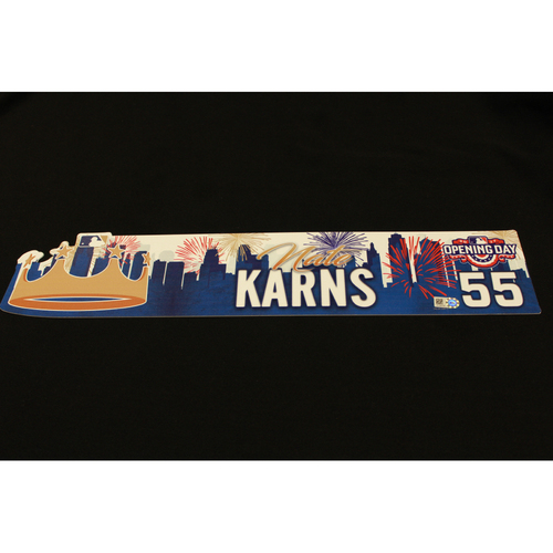 Photo of Nathan Karns Game-Used Opening Day Locker Name Plate