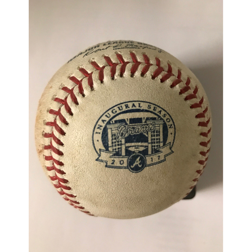 Photo of Ozzie Albies Game-Used Hit Single Baseball - August 5, 2017 - 2nd Career Hit