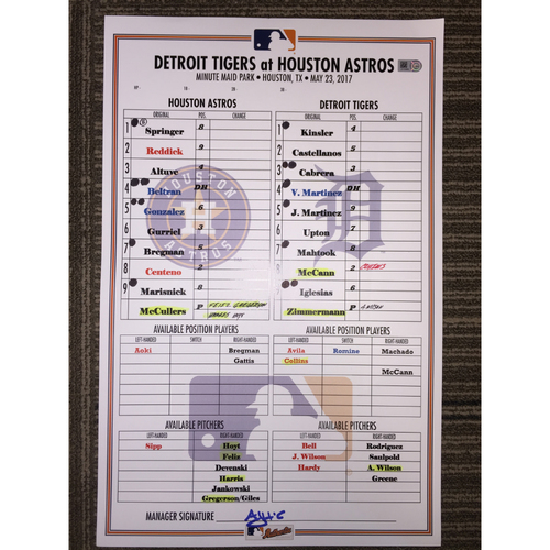 Photo of Astros vs Tigers, 5/23/17 - Game-Used Lineup Card