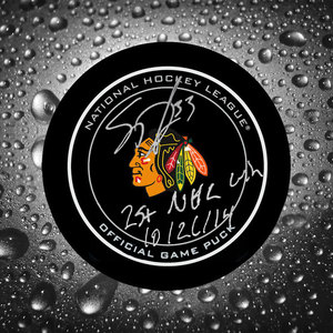 Scott Darling Chicago Blackhawks 1st NHL Win 10/21/14 Autographed Official Game Puck