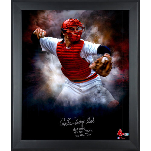 """Photo of Carlton Fisk Boston Red Sox Framed Autographed 20"""" x 24"""" In Focus Photograph with Multiple Inscriptions-#24 of a Limited Edition of 24"""