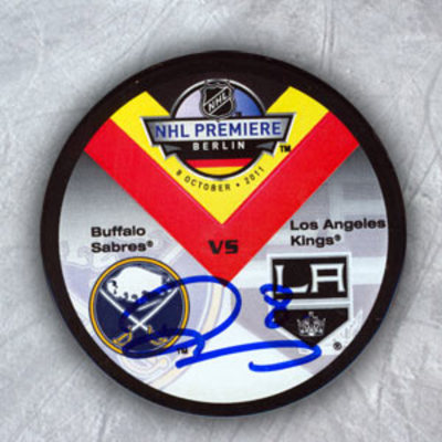DREW DOUGHTY Sabres vs LA kings SIGNED 2011 Berlin Premiere Game Puck