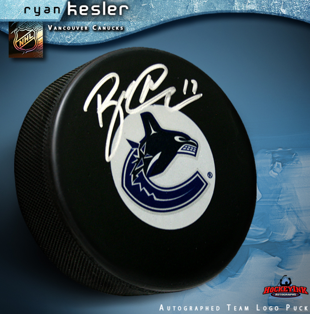 RYAN KESLER Signed Vancouver Canucks Team Logo Puck
