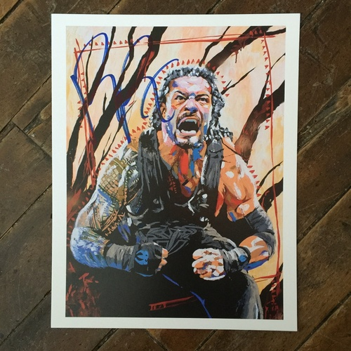 Photo of Roman Reigns SIGNED 11 x 14 Rob Schamberger Print