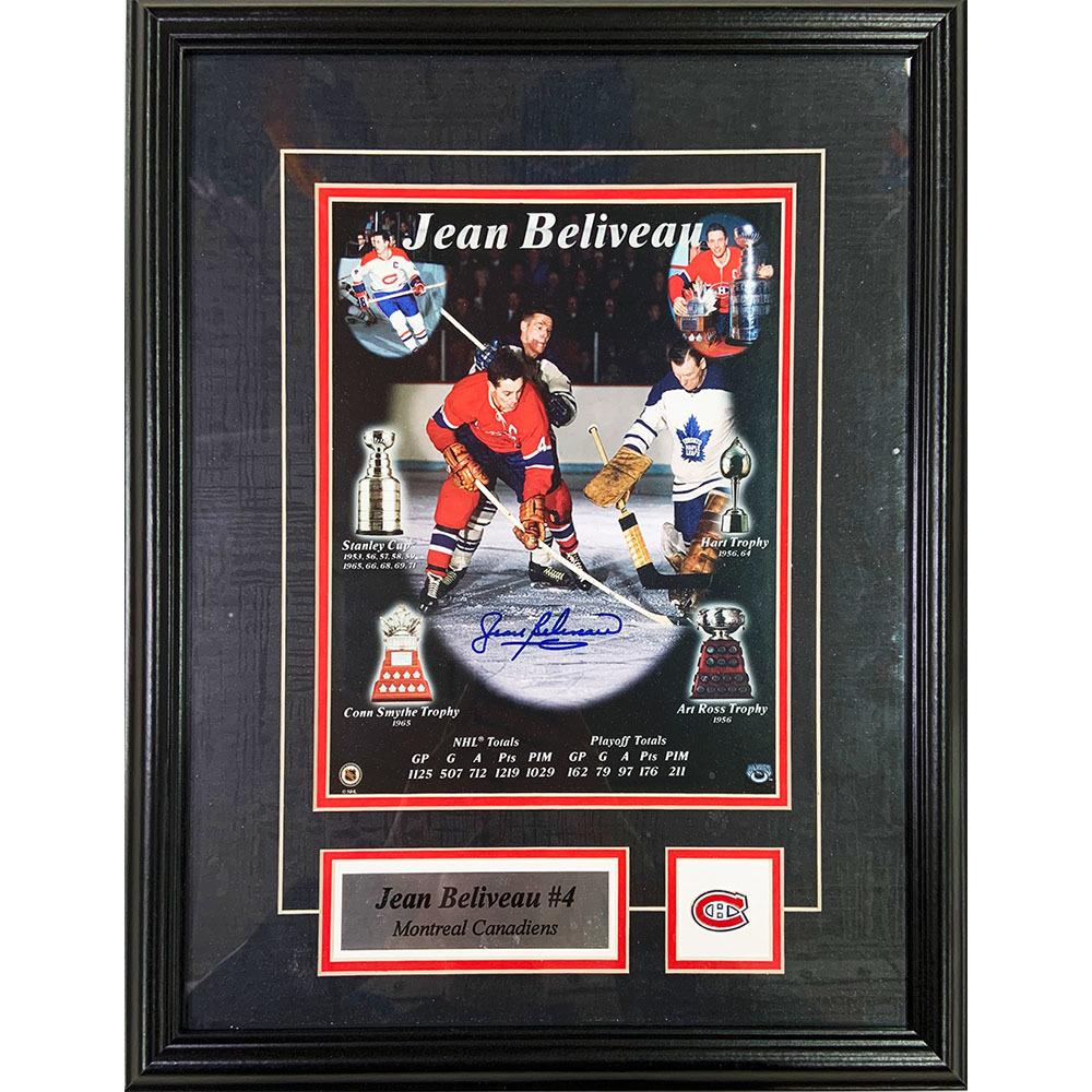 Jean Beliveau Autographed Montreal Canadiens Framed 8X10 Photo