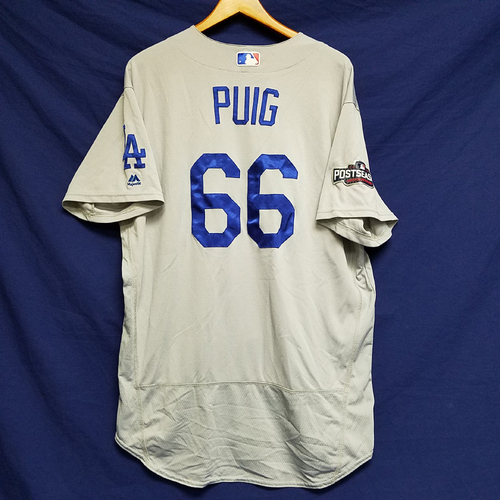 Photo of Yasiel Puig 2016 Game-Used Road Playoff Jersey vs Chicago Cubs - NLCS Game 6