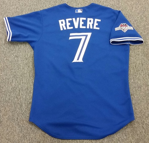 Photo of Authenticated Ben Revere Game Used 2015 Post Season Alternate Jersey - ALCS GM 6. Revere went 2-5 at the plate with a double, a single, and 2 strikeouts.