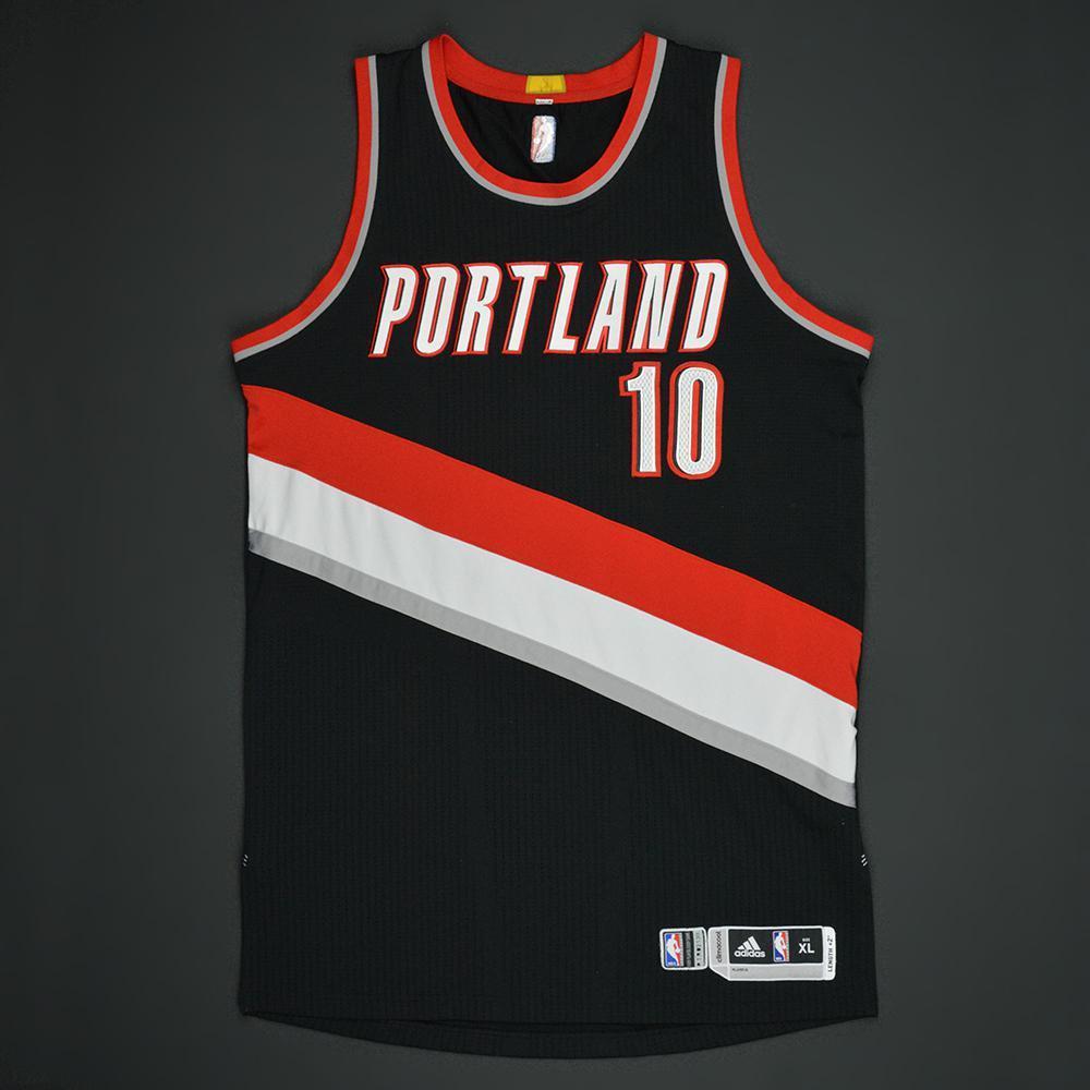Jake Lyman - Portland Trail Blazers - Black Playoffs Game-Worn Jersey - Dressed, Did Not Play - 2016-17 Season