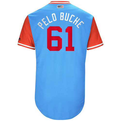 "Photo of Robinson ""Pelo Buche"" Chirinos Texas Rangers Game-Used Players Weekend Jersey"
