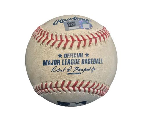 Photo of Game-Used Baseball from Pirates vs. Yankees on 4/21/17 - Sabathia to Bell, Ball in Dirt