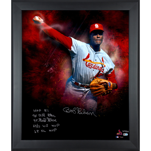 "Photo of Bob Gibson St. Louis Cardinals Framed Autographed 20"" x 24"" In Focus Photograph with Multiple Inscriptions-#1 of a Limited Edition of 45"