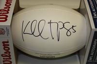 PATRIOTS - KENBRELL THOMPKINS SIGNED PANEL BALL W/ PATRIOTS CHARITABLE FOUNDATION LOGO (SMALL SMUDGE ON SIGNATURE)