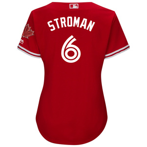 Women's Cool Base Replica Marcus Stroman Alternate Red Jersey by Majestic