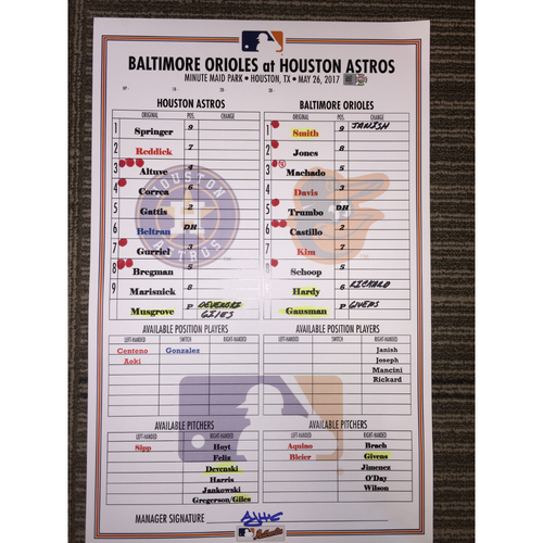 Photo of Astros vs Orioles, 5/26/17 - Game-Used Lineup Card