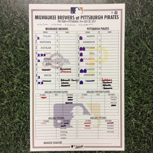 Photo of MIL @ PIT 07/20/17 Lineup Card - Loss 4-2: Gregory Polanco HR