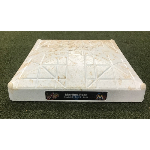 Game-Used Base: Braves at Marlins 9/28/17 (Stanton HR #58 & #59 Game)
