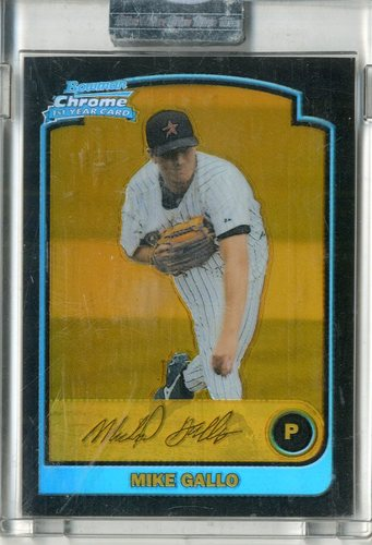 Photo of 2003 Bowman Chrome Gold Refractors #216 Mike Gallo
