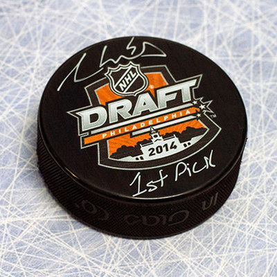 Aaron Ekblad 2014 NHL Draft Day Puck Autographed with 1st Pick Inscription *Barrie Colts*