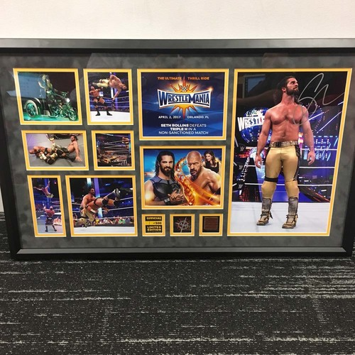 Photo of Seth Rollins WrestleMania 33 Signed Commemorative Plaque  (#1 of 500)