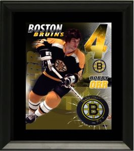 Bobby Orr Signed Puck with Print - Boston Bruins