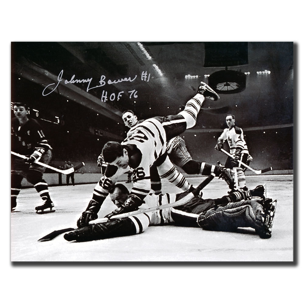 Johnny Bower Toronto Maple Leafs HOF Net Shot Autographed 8x10