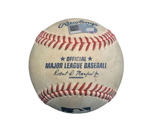 Photo of Game-Used Baseball from Pirates vs. Yankees on 4/23/17 - Nova to Bird, 2 Pitches