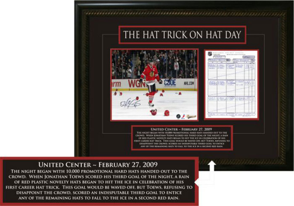 Jonathan Toews - Signed & Framed 11x14 Scoresheet - Chicago Blackhawks - Hat Trick on Hat Day