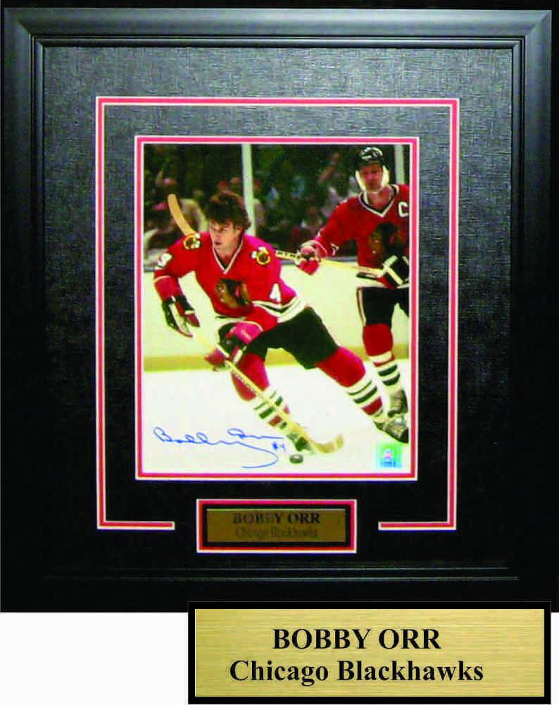 Bobby Orr - Signed & Framed Signed 8x10 Etched Mat - Chicago Blackhawks with Mikita