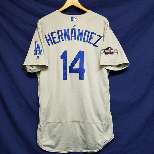 Photo of Enrique Hernandez 2016 Game-Used Road Playoff Jersey vs Chicago Cubs - NLCS Game 6