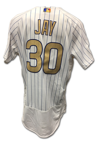 Photo of Jon Jay Ring Ceremony Game-Used Gold Jersey -- Dodgers vs. Cubs -- 4/12/17
