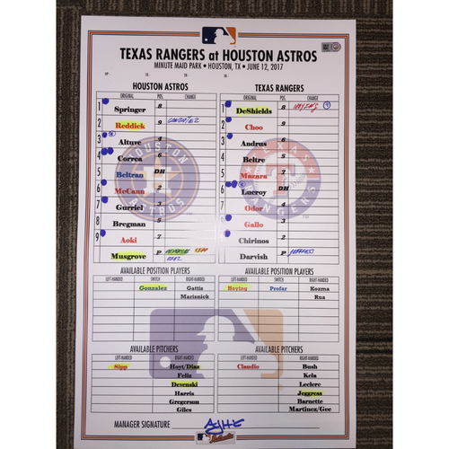 Photo of Astros vs Rangers, 6/12/17 - Game-Used Lineup Card