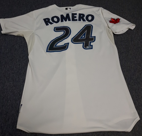 Photo of Authenticated Game Used Jersey - #24 Ricky Romero (April 1, 2011 (Opening Day): 6.1 IP, 7 Hits, 1 ER, 7 Ks (Winning Pitcher)). Size 48.