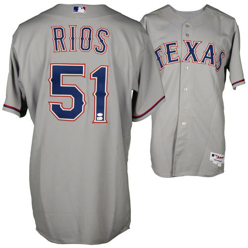 Photo of Alex Rios Game-Used Rangers Jersey from 8/03/14 vs. Indians, Single and RBI in game