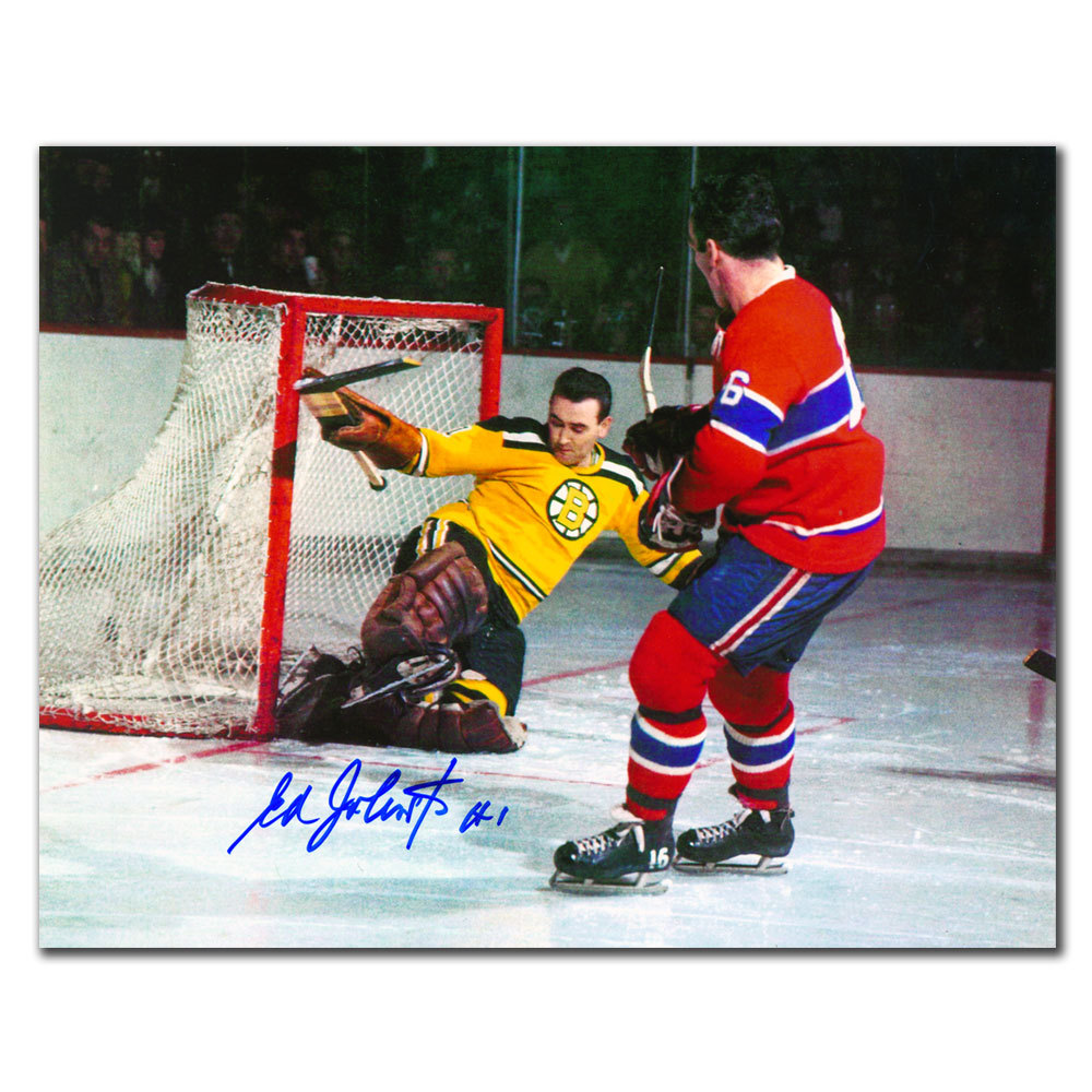 Ed Johnston Boston Bruins vs. Henri Richard Autographed 8x10