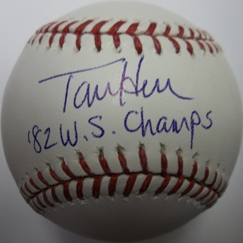 "Photo of Tom Herr Autographed ""82 WS Champs"" Baseball"