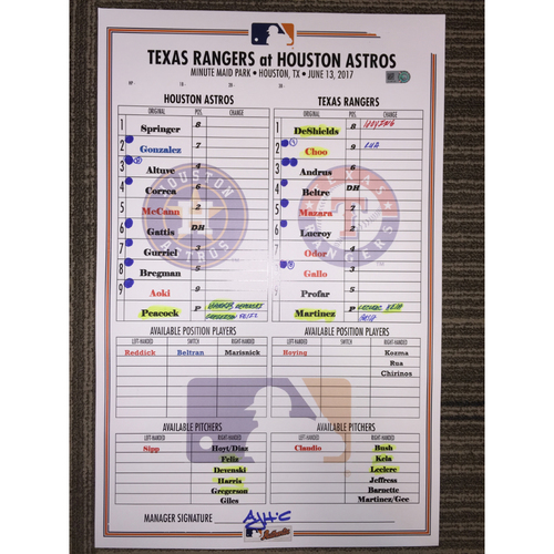 Photo of Astros vs Rangers, 6/13/17 - Game-Used Lineup Card