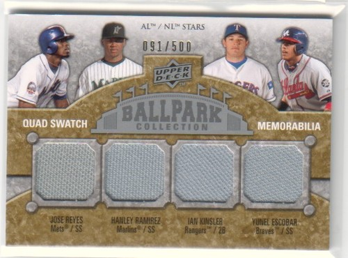Photo of 2009 Upper Deck Ballpark Collection #205 Jose Reyes/Yunel Escobar/Ian Kinsler/Hanley Ramirez/500
