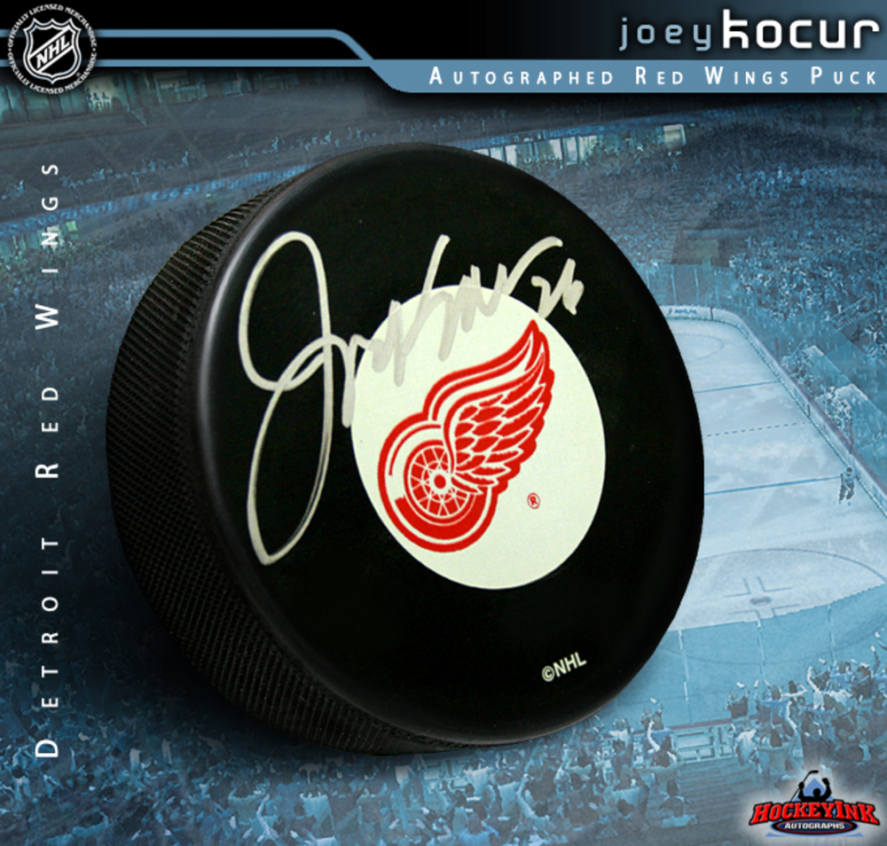 JOEY KOCUR Signed Detroit Red Wings Puck