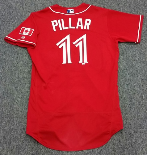Photo of Authenticated Game Used Kevin Pillar Canada Baseball Day Jersey