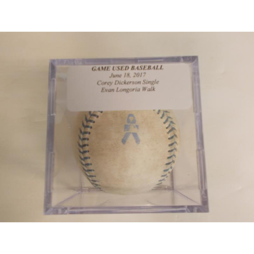 Photo of Game-Used Baseball: Corey Dickerson Single & Evan Longoria Walk