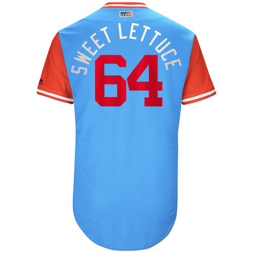 """Photo of AJ """"Sweet Lettuce"""" Griffin Texas Rangers Game-Used Players Weekend Jersey"""