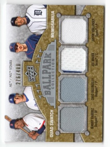 Photo of 2009 Upper Deck Ballpark Collection #207 Justin Verlander/Joe Mauer/Chad Billingsley/Manny Ramirez/4